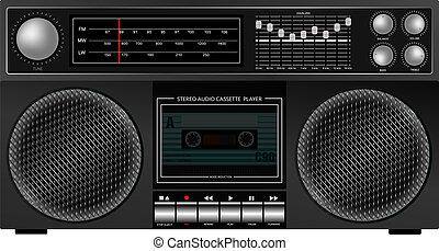 Illustration of Portable Retro Stereo Audio Cassette Player / Recorder