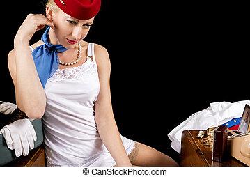 Retro Stewardess Undressing or Dressing