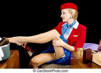Retro Stewardess Undressing