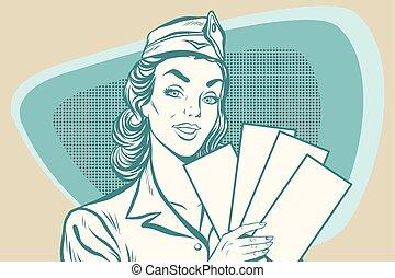 Retro stewardess with ticket. Old illustration. Pop art...