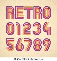 retro stijl, alfabet, getallen