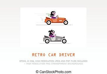 retro stijl, bestuurder, vector, illustratie