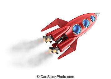 retro stijl, rocket.
