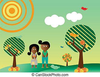 retro stil, afrikanische amerikanische paare, in, landschaftsbild