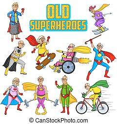 retro stil, comics, superhero, alter mann, und, frau