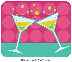 retro stil, illustration., martinis
