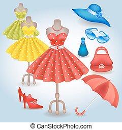 retro stil, kleiden, accessoirs, modisch