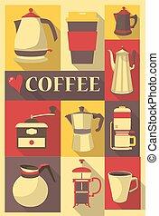 retro stil, plakat, oder, postkarte, mit, verschieden, arten, von, kaffee topft