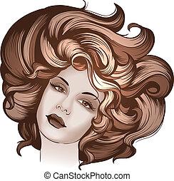 retro stiliser, portræt kvinde