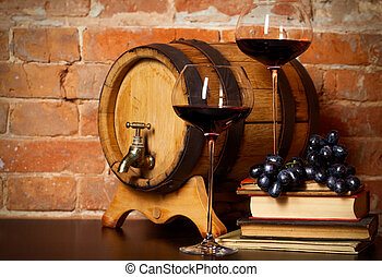 Retro still life with red wine and barrel - Retro still life...