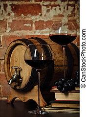 Retro still life with red wine