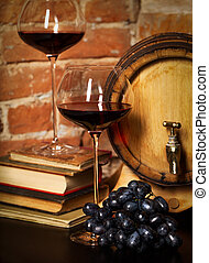 Retro still life with red wine and barrel