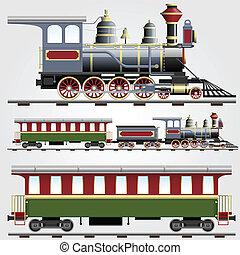 retro, stoom trein, met, trainer