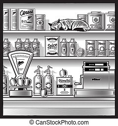 Retro store with scales, cash register, various foods and sleeping red cat. Black and white vector illustration in woodcut style with clipping mask.