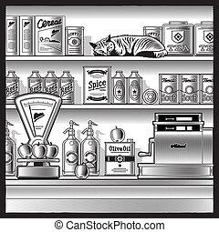 Retro store black and white - Retro store with scales, cash...