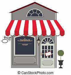 Retro store - Vector illustration of little cute retro...
