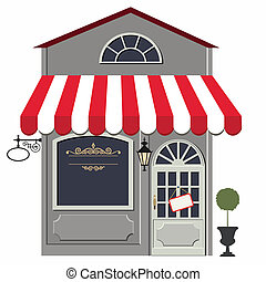 Retro store - Vector illustration of little cute retro...
