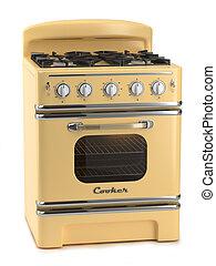 Retro stove isolated on white background