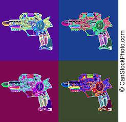 retro, straal vuurwapen, speelbal, heldere kleur