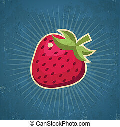 Retro Strawberry Illustration - Retro grunge strawberry...