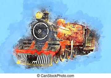 Retro Stream Locomotive Train Railway Engine Painting