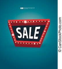 Retro street signboard. Vector retro banners for sale. vintage billboard, bright signboard, light banner. Signboard with space for text