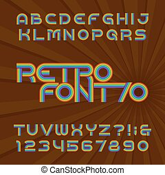 Retro stripe alphabet font. Funky type letters and numbers in 70's style. Vector typeface for your headers or any typography design.