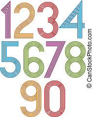 Retro stripes funky numbers set.
