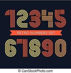 Retro stripes funky numbers set, trendy elegant retro style design.