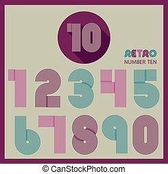 Retro stripes funky numbers set