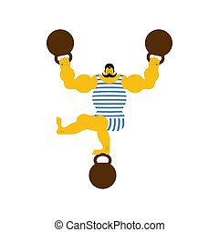 Retro strongman and weight. Vintage Sportsman. Circus bodybuilder. man of musls in poloat clothes. Vector illustration