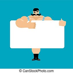 Retro strongman holding banner blank. Vintage athlete and white blank. big guy joyful emotion. ancient bodybuilder and place for text. Vector illustration