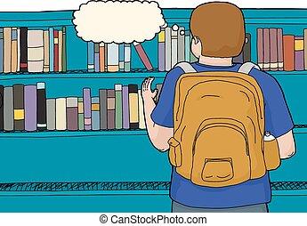 retro, studente, biblioteca, vista