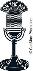 Retro studio microphone vector illustration. Radio...