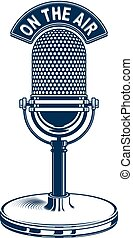 Retro studio microphone vector illustration. Radio broadcasting concept. On the air.