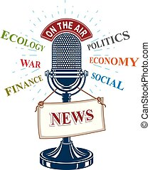 Retro studio microphone vector illustration with news label....