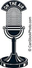 retro, studio, mikrophon, vektor, illustration., radio sendung, concept., auf, der, luft.
