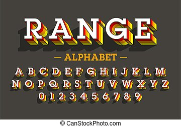 Retro style 3D font, vector illustration