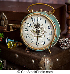 Retro Style Alarm Clock and Suitcases