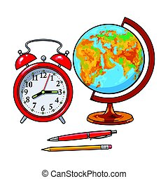 Retro style alarm clock, school globe, pen, pencil, student accessories