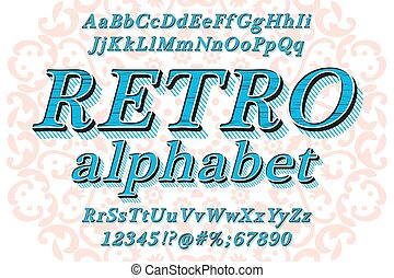 Retro Style Alphabet - Retro Vintage Style Reliefed Alphabet...