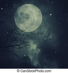 Retro style artwork with cloudy skies, full moon and old...