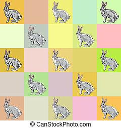 Retro style background, hand drawn rabbit on orange background