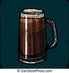 Retro style beer mug, cup or glass engraving. Porter, stout, red ale Local brewery. Vintage vector engraving illustration for web, poster, label, invitation to oktoberfest festival, party. Beer pint sketch style illustration. Old engraving imitation. Beer cup hand drawn ink sketch. Craft beer engraving style.