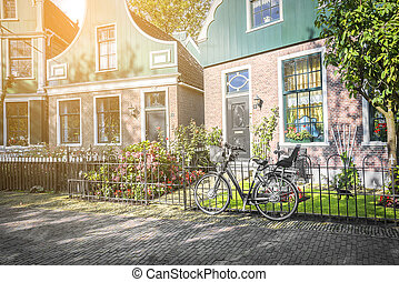 Retro style bicycle in Holland. Country village in the Netherlands.