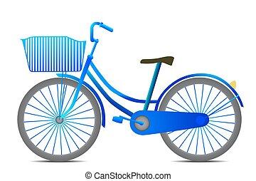 Retro style black bicycle isolated on white background