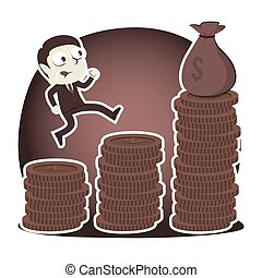 Retro style businessman climbing coins stair to get sack of money