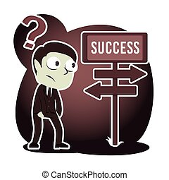 Retro style businessman confuse with success road direction
