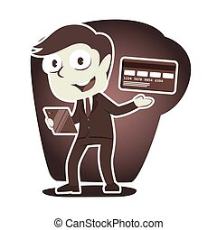 Retro style businessman with his credit card