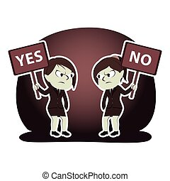 Retro style businesswoman arguing using yes and no sign